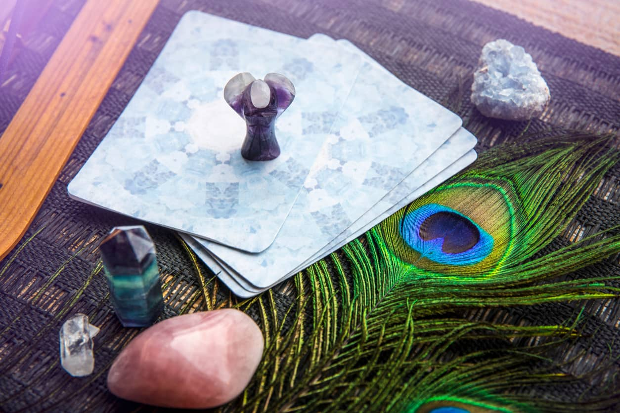 angel cards with crystals